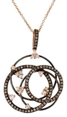 14K Diamond Interlocking Circles Pendant Necklace rose 14K Diamond Interlocking Circles Pendant Necklace