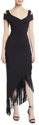 Chiara Boni Rhoda Asymmetric Fringe Cold-Shoulder Dress