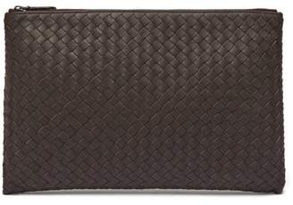 Bottega Veneta Intrecciato Weave Leather Pouch - Mens - Brown