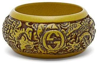 Gucci Carved Gg Cuff - Womens - Green
