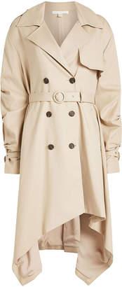 Jonathan Simkhai Cotton Trench Coat with Asymmetric Hem