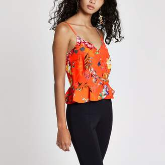 River Island Womens Orange floral print button front cami top