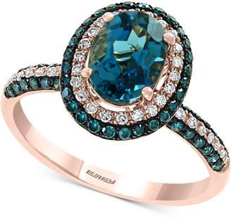 Effy London Blue Topaz (1-1/2 ct. t.w.) & Diamond (1/2 ct. t.w.) Ring in 14k Rose Gold