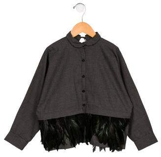 Andorine Girls' Oversize Feather-Tiered Top w/ Tags