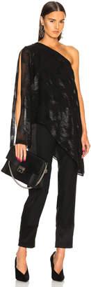 Sally Lapointe Metallic Silk Asymmetrical Drape Top
