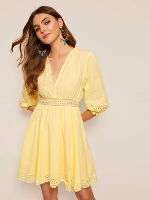 Shein Wrap Front Eyelet Embroidered Dress