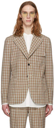 Acne Studios Orange Check Visbe Bold Blazer