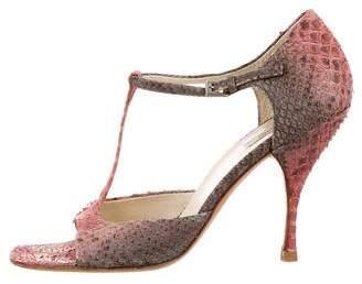 Prada Snakeskin T-Strap Sandals