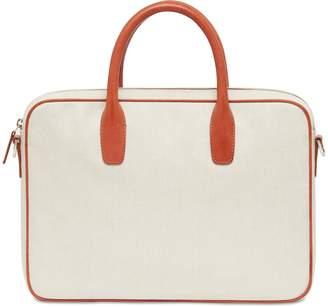 Mansur Gavriel Canvas Small Briefcase - Creme/Brandy