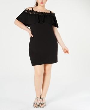 BCX Plus Size Juniors' Off-The-Shoulder Crochet Dress