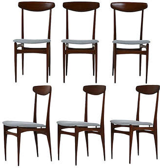 One Kings Lane Vintage Set of 6 Danish Dining Chairs - Castle Antiques & Design