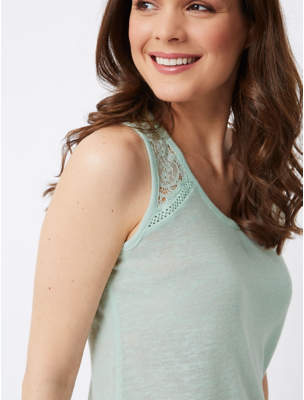 George Blue Lace Insert Lightweight Knitted Vest Top