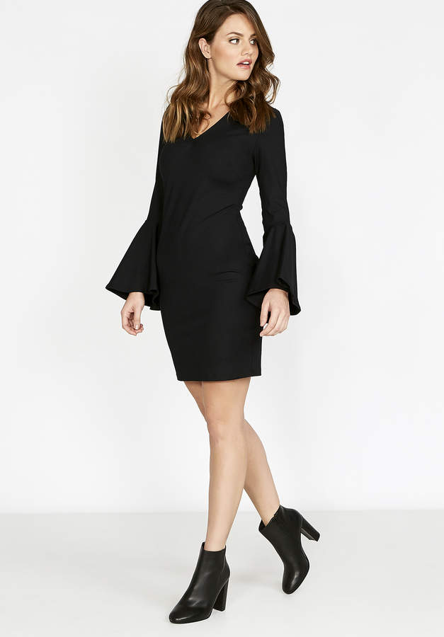 Fitted V Neck Bell Sleeve Dress