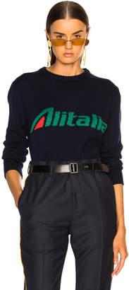 Alberta Ferretti x Alitalia For FWRD Logo Sweater in Navy Blue   FWRD
