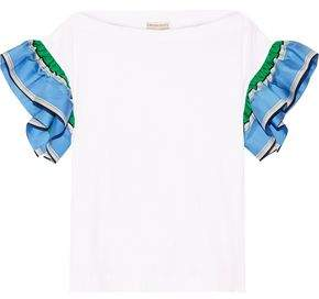 Emilio Pucci Ruffled Silk Twill-Trimmed Cotton-Jersey Top