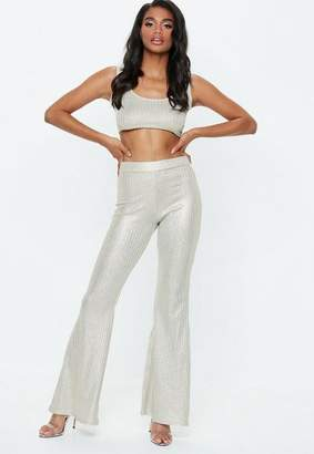 Missguided Gold Glitter Ribbed Flared Pants