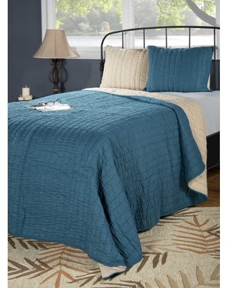 """Rizzy Home Rizzy home BT1412 PETROL BLUE 90""""x92"""" Cotton voile Quilt"""