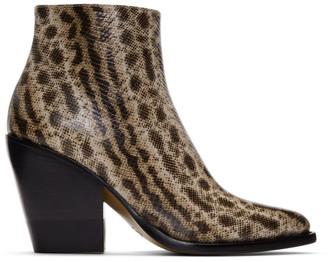 Chloé Beige Snake Rylee Boots