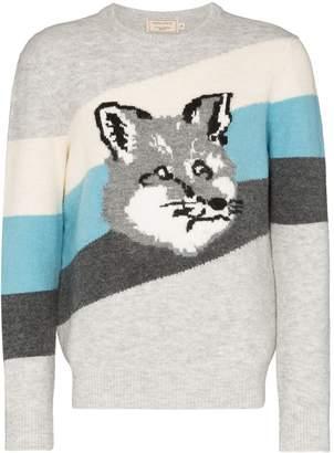 MAISON KITSUNÉ Fox intarsia stripe sweater