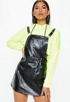 Missguided Black Faux Leather Pinafore Dress