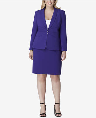 Tahari ASL Plus Size Shawl-Collar Pintucked Skirt Suit