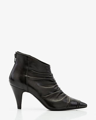 Le Château Italian-Made Leather Ruched Ankle Boot