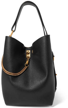 Givenchy Gv Bucket Textured-leather And Suede Shoulder Bag - Black