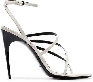 Saint Laurent white Paris 105 patent-leather strappy sandals