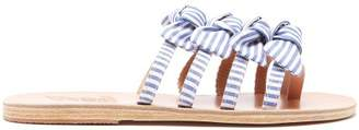 Ancient Greek Sandals Hara Bow Embellished Leather Slides - Womens - Blue Stripe