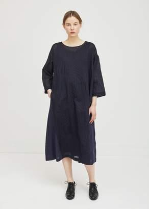 Pas De Calais Textured Linen Dress Navy