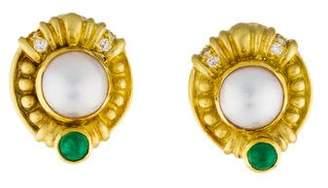 Judith Ripka 18K Pearl, Diamond & Emerald Earclips