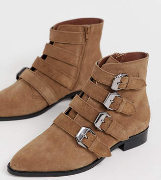 Asos Design DESIGN Wide Fit Alissa leather buckled boots