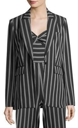 Veronica Beard Petra Striped One-Button Jacket