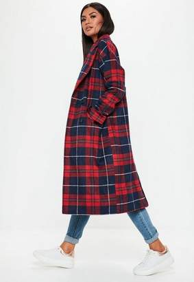Missguided Red Plaid Long Line Coat