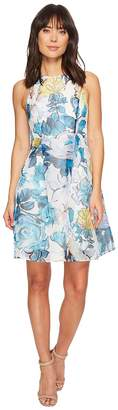 Adrianna Papell Stained Glass Floral Printed Ribbed Organza Fit and Flare Dress Women's Dress