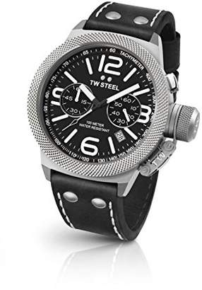 TW Steel Canteen Leather Quartz Watch with Black Dial Chronograph Display and Black Leather Strap CS4