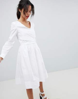 French Connection Long Sleeve Wrap Midi Dress