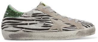 Golden Goose Deluxe Brand - Super Star Suede-trimmed Zebra-print Calf Hair Sneakers - Zebra print $585 thestylecure.com