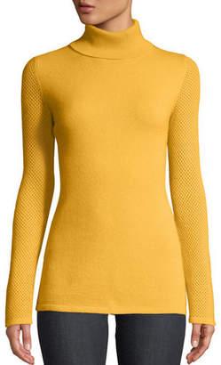Neiman Marcus Mesh-Sleeve Cashmere Turtleneck Sweater