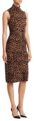Saks Fifth Avenue COLLECTION Cashmere Animal Print Funnelneck Dress