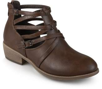 Co Brinley Womens Faux Leather Strappy Buckle Booties