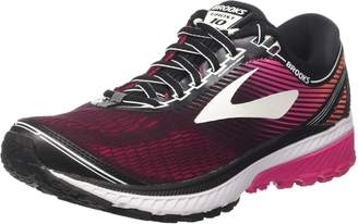 Brooks Women's Ghost 10 Black/Pink/Peacock/Living Coral Running Shoe 6 Women US