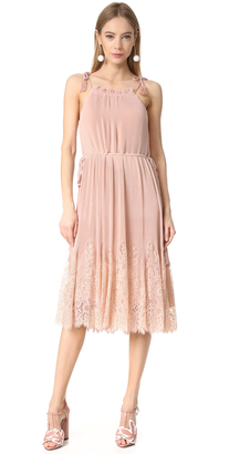 Whistles Lillan Pleated Lace Mix Dress $499 thestylecure.com