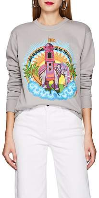 HORN PLEASE Women's Elephant-Print Cotton Sweatshirt