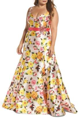 Mac Duggal Floral Trumpet Gown