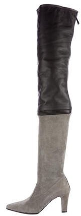 Chanel Leather Thigh-High Boots
