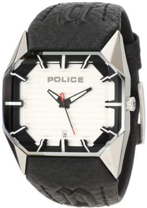 Police Men's PL-12176JS/04A Vector Silver Octagon Dial Leather Watch