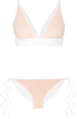 Jonathan Simkhai Reversible Triangle Bikini - Blush