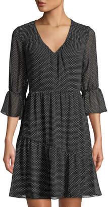 19 Cooper Flare-Sleeve Polka-Dot Trapeze Dress