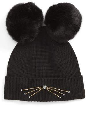 Kate Spade Embellished Cat Wool Beanie With Faux Fur Poms